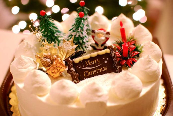 Santa Claus, Jingle bells, Mistletoe, Carols, and a Christmas Cake